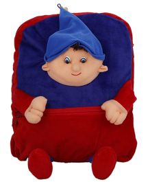 Deals India Kids Plush School Bag Blue Red - 14 Inches