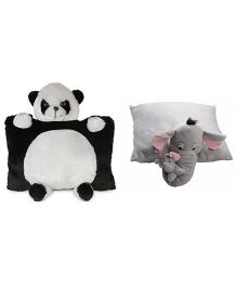 Deals India Panda And Elephant Pillow Set of 2 - Grey Black White