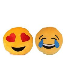 Deals India Heart Eyes & Laughing Tears Smiley Cushion Yellow Pack Of 2 - 35 cm