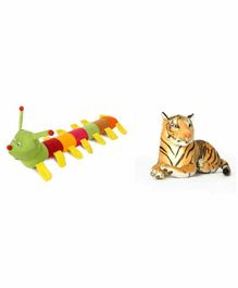 Deals India Stuffed Tiger And Caterpillar Combo - Multicolor