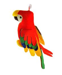 Deals India Musical Parrot Stuffed Soft Plush Toy Red - 30 cm