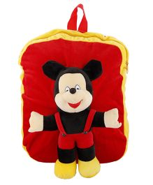 Deals India Kids Plush School Bag Mickey Mouse Design Red - 14 Inches