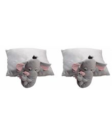 Deals India Mother Elephant With Baby Elephant Pillow Set Of 2 - Grey