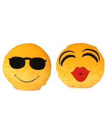 Deals India Soft Cool Dude And Kiss Smiley Cushion Pack Of 2 - Yellow