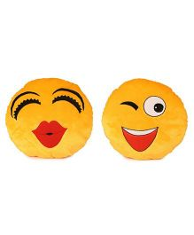Deals India Kiss & Wink Smiley Cushion Yellow Pack Of 2 - 35 cm
