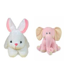 Deals India Rabbit And Elephant Soft Toys - Pink White