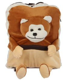 Deals India Kids Plush School Bag Monkey Face Brown - 14 Inches