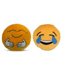 Deals India Hugging And Laughing Tears Smiley Cusion Set Of 2 - Yellow