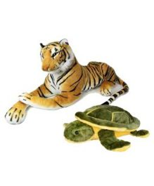 Deals India Tiger And Turtle Soft Toy Combo - Brown & Green