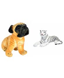 Deals India Hutch Dog And White Tiger Soft Toy - Brown & White