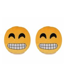 Deals India Grinning Face With Smiling Eyes Smiley Cusion Set Of 2 - Yellow