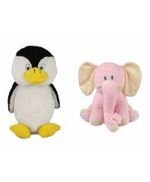 Deals India Penguin And Pink Sitting Elephant Soft Toy - White Black Pink