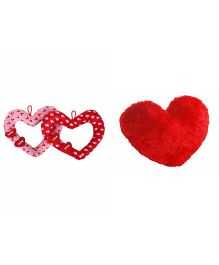Deals India Heart Cushions Pack of 3 Pink Red - 30 cm