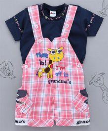 Little Bunnies Checkered Giraffe Applique Tee & Dungaree Set - Pink