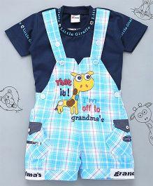 Little Bunnies Checkered Print Giraffe Applique Tee & Dungaree Set - Sky Blue