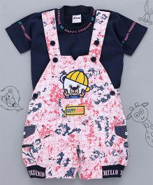 Little Bunnies Happy Friend Patch Tee & Dungaree Set - Pink