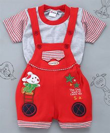 Little Bunnies Star Patch Tee & Dungaree Set - Red