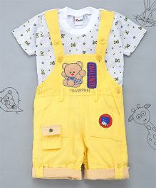 Little Bunnies Bear Patch Tee & Corduroy Dungaree Set - Yellow