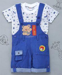 Little Bunnies Bear Patch Tee & Corduroy Dungaree Set - Royal Blue