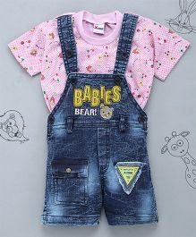 Little Bunnies Babies Patch Tee & Denim Dungaree Set - Pink