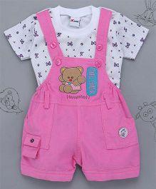 Little Bunnies Bear Patch Tee & Corduroy Dungaree Set - Pink