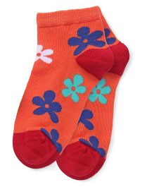 Mustang Ankle Length Socks Floral Design - Orange