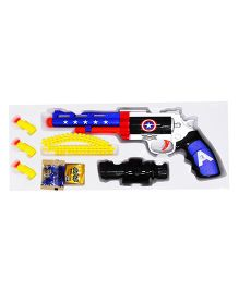 Emob Captain Man Air Blaster Revolver With Micro Rubber Bullets - Multicolor