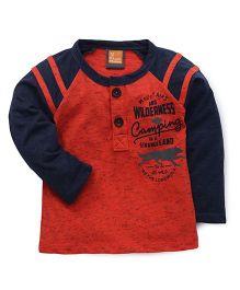 Little Kangaroos Full Sleeves Printed T-Shirt - Blue Orange