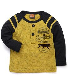 Little Kangaroos Full Sleeves Printed T-Shirt - Yellow