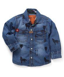 Little Kangaroos Full Sleeves Printed Denim Shirt - Light Blue
