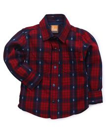 Little Kangaroos Checked Two Pockets Shirt - Red