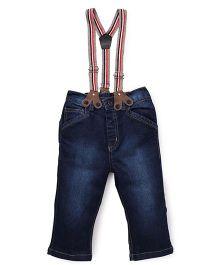Little Kangaroos Jeans With Suspenders - Dark Blue