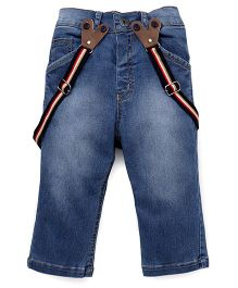 Little Kangaroos Jeans With Suspenders - Light Blue
