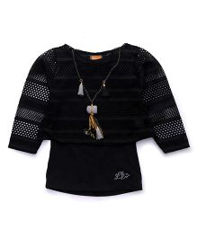 Little Kangaroos Full Sleeves Top With Necklace - Black