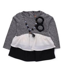 Little Kangaroos Full Sleeves Top With Floral Applique - Black Grey