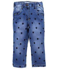 Little Kangaroos Jeans Floral Design - Light Blue