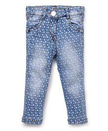 Little Kangaroos Full Length Denim Jeans Floral Print - Light Blue