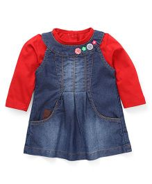 Little Kangaroos Frock With Inner Tee - Red And Blue