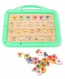 Funworld 3 In 1 ABC Puzzle Slate Boy Print - Green