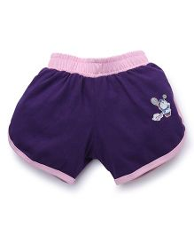 Red Ring Casual Shorts Doraemon Print Shorts - Purple