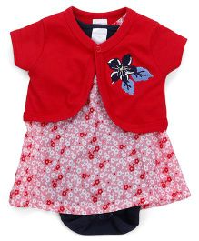 Wonderchild Dress With Bodysuit & Shrug - Red