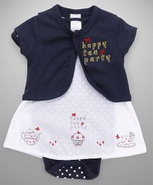Wonderchild Printed Dress With Bodysuit & Shrug - Navy
