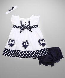 Wonderchild Printed Dress With Bloomer & Headband - Black & White