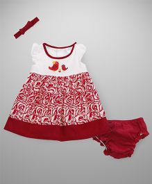Wonderchild Cotton Printed Dress With Bloomer & Headband - Maroon