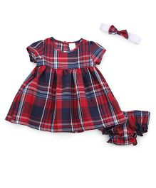 Wonderchild Cotton Dress With Bloomer & Headband - Red
