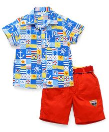 ToffyHouse Half Sleeves Printed Shirt And Shorts With Belt - Blue Orange