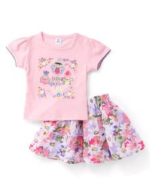 ToffyHouse Short Sleeves Top And Skirt Fairy Kingdom Print - Pink White