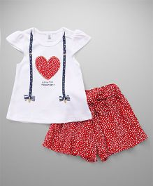 ToffyHouse Cap Sleeves Top & Divider Set Dotted Print - White Red