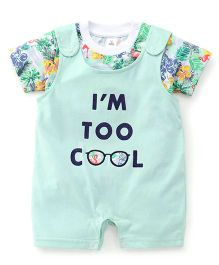 ToffyHouse Dungaree Style Romper With Printed T-Shirt - White Sea Green