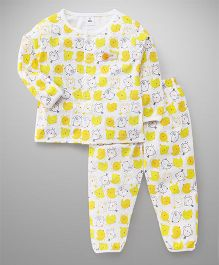 ToffyHouse Full Sleeves Night Suit Printed - Yellow & White